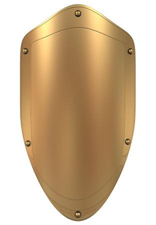 Or Bouclier modèle 3D haute résolution, 3D, render Banque d'images - 40602651