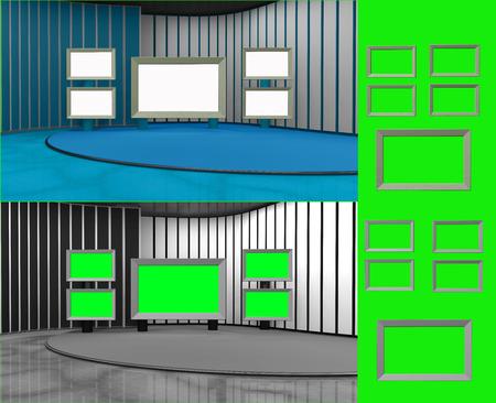in insert: Virtual studio with insert screen3d render Stock Photo