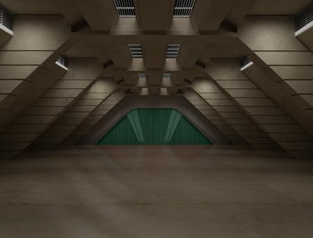 Science fiction interior scene  sci fi  corridor