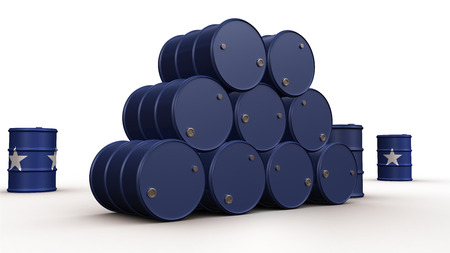Blue oil barrels isolated on white background photo