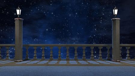 Balcon Vintage avec vue sur le magnifique ciel nocturne Banque d'images - 41546408
