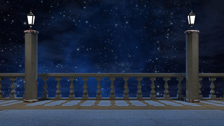 Vintage balcony  with view of beautiful night sky