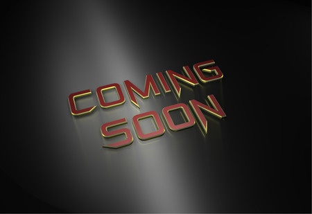 3 d: Coming soon message on grey background 3 d Raw Render Stock Photo