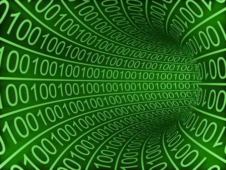 Binary tunnel Green High resolution 3d render Stock Photo