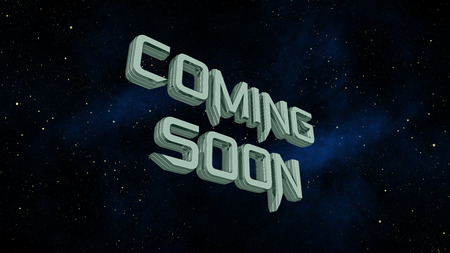 3 d: Coming soon message on space galaxy background 3 d render Stock Photo
