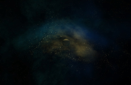 natural color: Space galaxy with Planets 3 d render