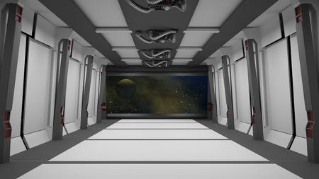 sci fi: inside a futuristic sci fi hallway 3D rendering Stock Photo