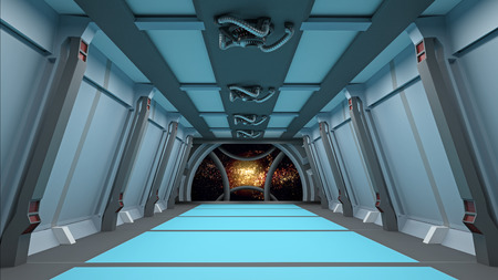 corridor: sci fi  corridor with view of space galaxy
