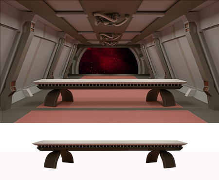 comp: The Last Supper in galactic environment.Empty table in a separate layer, ready for comp of your characters.