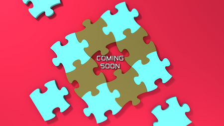 coming soon: Coming soon text with color puzzle background