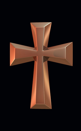 Gold Cross 3d render Standard-Bild - 43686724