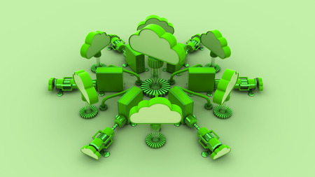 remote backup service: cloud computing 3d  render