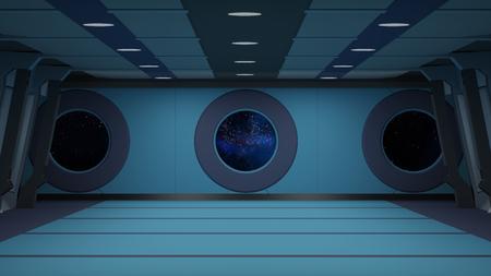 tunnel portals: sci fi corridor Stock Photo