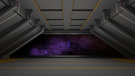 sci fi: sci fi corridor Stock Photo