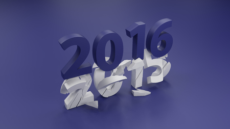 or shatter: 2016 New year change concept 3d render