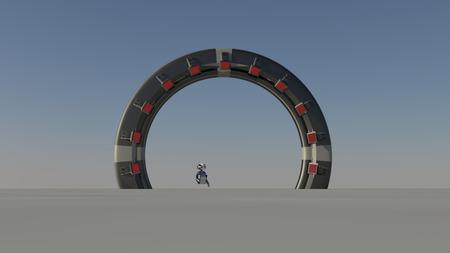 Porte spatiale dans autre monde 3d cru rendre Banque d'images - 49174777