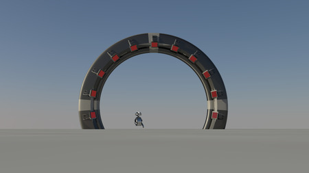 the other world: Space Gate into other world 3d raw render