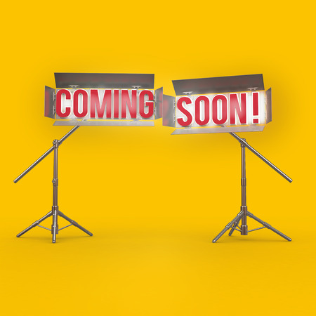 yelow: COMING SOON word on yelow background 3d rendering