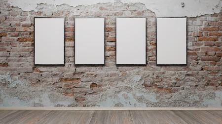Intérieur avec photo vierge cadres rendu 3d