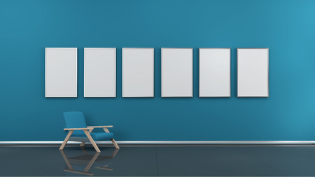 art museum: Interior with blank picture frames 3d rendering