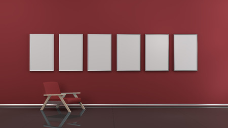 3d interior picture: Interior with blank picture frames 3d rendering