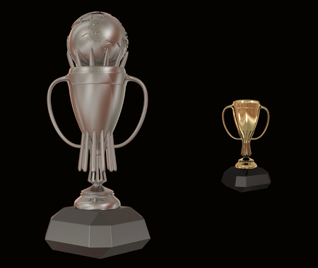Trophy cup 3D rendering Stock Photo