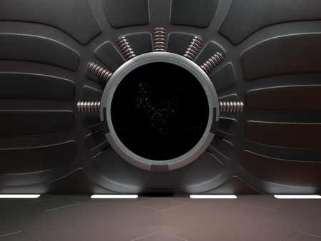 Window view of space with nebula and stars 3D rendering