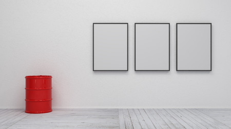 interior with blank picture frame 3d rendering