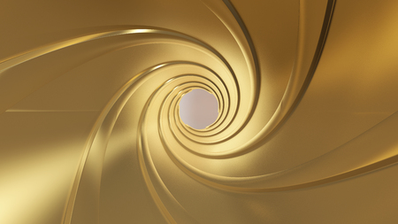 Golden gun barrel,high resolution 3d rendering Banco de Imagens