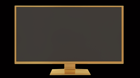 Gold tv 3D rendering Stock Photo