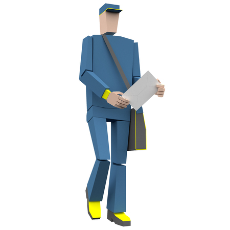 Postman with envelope and bag 3d rendering Фото со стока