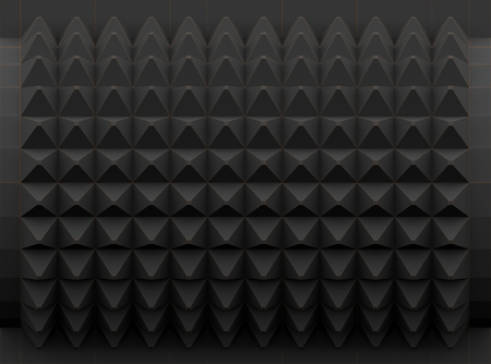 Dark polygons background with contrast outlines 3d rendering