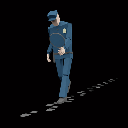 policeman with a magnifying glass investigate suspicious footprints 3d rendering