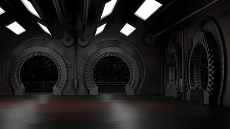 Space environment, ready for comp of your characters.3D rendering Фото со стока