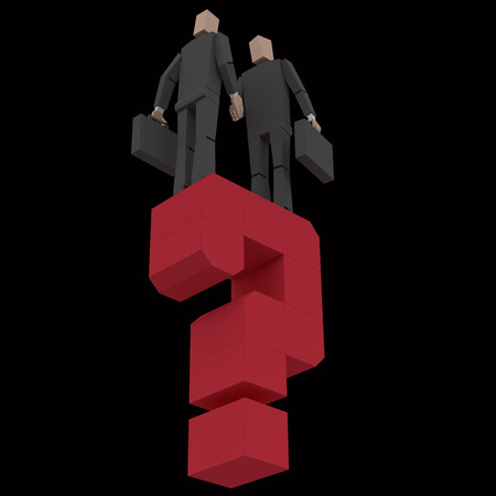 two businessman with question mark 3d rendering Фото со стока