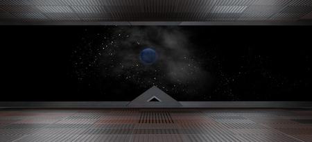 Interior futurista de nave espacial con vista de ventana Representación 3D