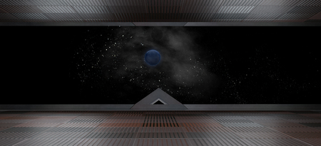 Spaceship futuristic interior with window view.3D rendering