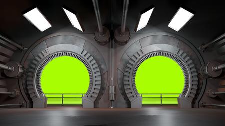 Raumschiff futuristisches Interieur mit Fensteransicht.3D-Rendering