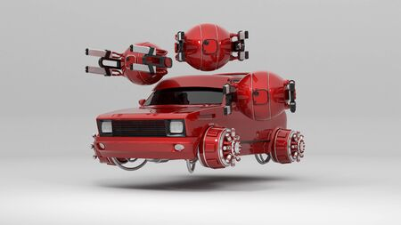 fantastic car flying with drones 3d rendering