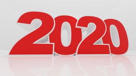 happy new year 2020,3D rendering