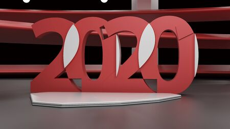 Virtual show room with 2020 new year simbol,3d rendering Фото со стока