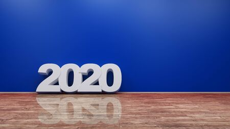 2020 Number Text on Wooden Floor Against Wall 3d rendering