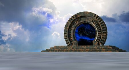 Space Gate into other world 3d rendering 写真素材