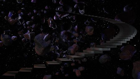 Stairway to cosmos 3d rendering 写真素材