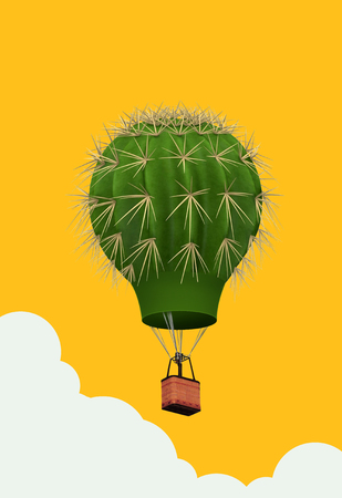3D illustration cactus hot air balloon with a basket on yellow background. Air travel and aircraft,Tourism and recreation. Sky objects.