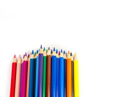 Multicolored pencils with free space for text on white background, Color pencils isolated Stok Fotoğraf