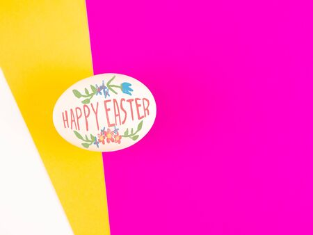 Happy Easter lettering with watercolor on pink yellow and white background, Easter design with text, hand drawn illustration