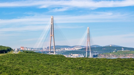 The Russky or Russian bridge to Russky Island in Vladivostok provides communication with the mainland for university facilities, ocean aquarium and settlement