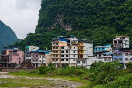 Residential buildings of the tourist city of Yangshuo known for karst peaks in China