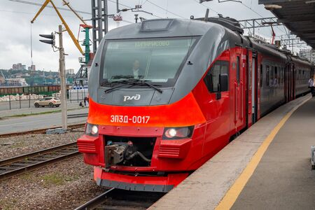 VLADIVOSTOK, RUSSIA - OCTOBER 20, 2018: A modern train Electric Multiple Unit EP3D. It was serving the visits of guests of football matches of the World Cup in Russia after the finished of the championship was transfer to Vladivostok.